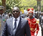 Senegal's President Sall arrives at the presidential palace after his inauguration in Dakar