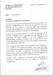 Lettre De Remerciement De Mme Viviane Bampassy Au Président