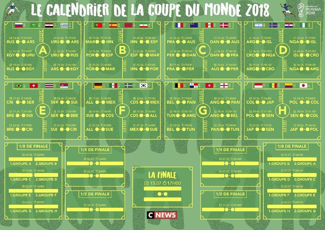 Voici le calendrier de la coupe du monde 2018 - Coupe de france football calendrier ...
